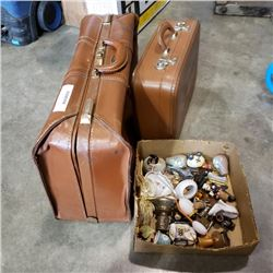 2 vintage leather suitcases with box of collectibles