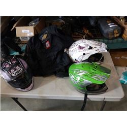 XS Power trip padded motorcycle jacket and three motorcycle helmets