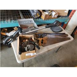 BOX AND TOOLBOX WITH CONTENTS AND HAND SAWS AND WEEDEATER