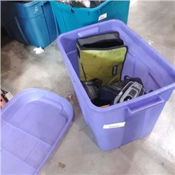 Tote of power tools and chargers