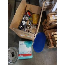 BOX OF KITCHEN ITEMS AND ADULT DIAPERS