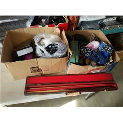 2 BOXES OF SHOES, HAIR CURLERS, POOL CUE