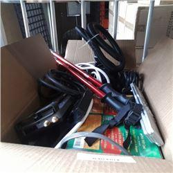 Box of power bar, walking sticks, inflator and more