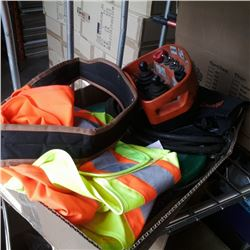 Box of fish tape, elca crane controller  high vis gear and more