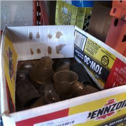 BOX OF GLASS, RUBBER AND PLASTIC INSULATORS