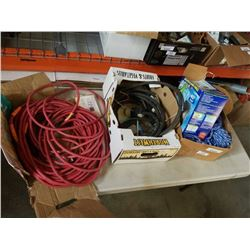 3 boxes of extention cords rope and more