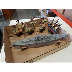 4 WOOD SHIPS AND MODEL BATTLESHIP
