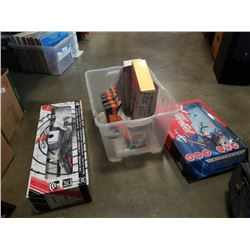 BOX OF DRONES, RC HELICOPTER, BBQ BRUSHES