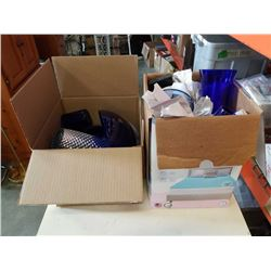 2 BOXES OF BLUE GLASS VASES AND CUPS, GLASS BOWLS, VASES