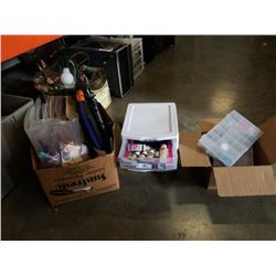 BIN AND BOX OF ARTS AND CRAFTS SUPPLIES AND SCRAPBOOKING