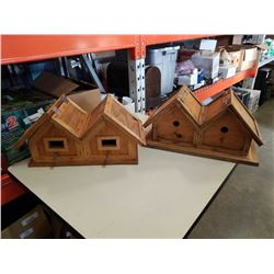 2 double occupancy Wooden bird houses