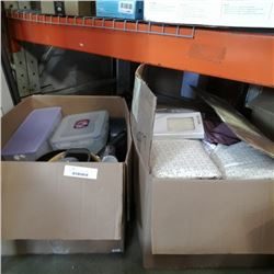 2 LARGE BOXES OF KITCHEN ITEMS, CLOTHS, TUPPERWARE, PANS