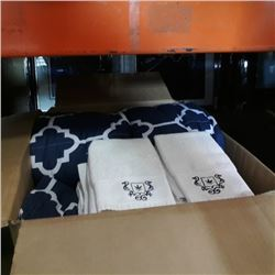 BOX OF COMFORTERS, TOWELS