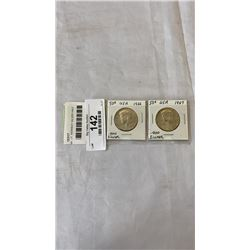 2  USA  J.F. KENNEDY SILVER HALF DOLLARS - .400 SILVER 1966, 1967