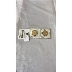 2  USA  J.F. KENNEDY SILVER HALF DOLLARS  .400 SILVER  1968, 1969