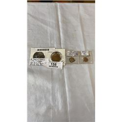 4 SPECIAL TOKENS 1902 CORONATION 1939 ROYAL VISIT 1960 CAN. LEGION, BRITISH LAPEL PIN