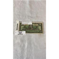 1937 CANADIAN BANK OF CANADA 1 DOLLAR KING GEORGE VI