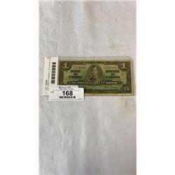 1937 BANK OF CANADA 1 DOLLAR BILL KING GEORGE VI