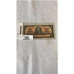 1937 BANK OF CANADA  2 DOLLAR  BILL  KING GEORGE VI FINE CONDITION