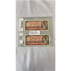 2 MINT 1954 CANADIAN 2 DOLLAR BILLS IN SEQUENCE 365-366
