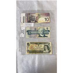 3 CANADIAN BILLS 10 DOLLAR BILL, 5 DOLLAR BILL - 1973  1 DOLLAR LAST ISSUE OF 1 DOLLAR BILL