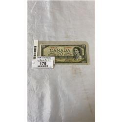 """1954 CANADIAN DEVIL FACE 20 DOLLAR BILL LOOKS """"TRIMMED"""""""