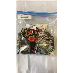 OVER 75 COLLECTOR PATCHES RCMP, POLICE, HOKCEY, MILITARY, ETC