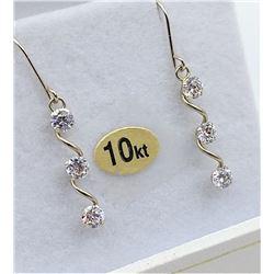 10KT WHITE GOLD CZ DANGLE EARRINGS - RETAIL $180