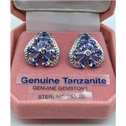 STERLING SILVER GENUINE TANZANITE AND WHITE SAPPHIRE EARRINGS W/ APPRAISAL $1490 - 2CTS TANZANITE