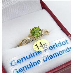 14KT YELLOW GOLD 6MM GENUINE PERIDOT AND DIAMOND RING W/ APPRAISAL $2065 - SIZE 6.25, 1CT PERIDOT, 0