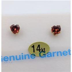 14KT YELLOW GOLD GENUINE GARNET HEART EARRINGS W/ APPRAISAL $300 - 0.6CTS GARNET