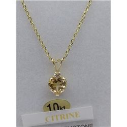 10KT YELLOW GOLD GENUINE CITINE  AND CZ HEART PENDANT W/ STERLING SILVER YELLOW GOLD PLATED CHAIN W/