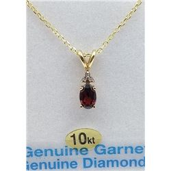 10KT YELLOW GOLD 6X4MM GENUINE GARNET AND DIAMOND PENDANT W/ YELLOW GOLD PLATED STERLING CHAIN W/ AP