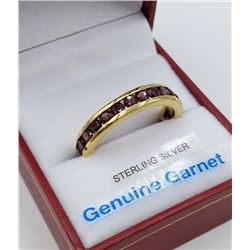 STERLING SILVER YELLOW GOLD PLATED GENUINE GARNET RING W/ APPRAISAL $960 - 23 GARNET (3.22CT) BIRTHS