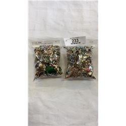 2 BAGS OF JEWELLERY - EARRINGS, NECKLACES, RINGS, ETC