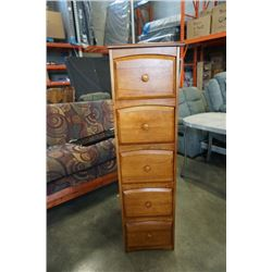 5 DRAWER CHEST OF DRAWERS APPROX 55 INCHES TALL 15 INCHES WIDE