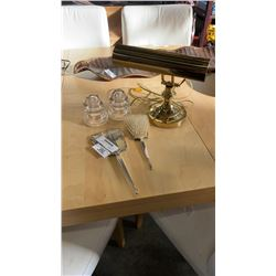 Silver plated vanity set and 2 glass insulators with brass bankers lamp