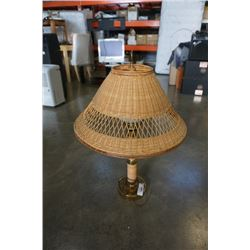 WICKER SHADE TABLE LAMP WITH GLASS GLOBE