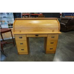 MAPLE ROLLTOP DESK, 6 DRAWER