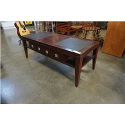 MODERN 1 DRAWER COFFEE TABLE WITH LEATHER INSERT
