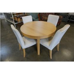 ROUND MAPLE DINING TABLE WITH LEAF AND 4 CHAIRS