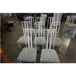 8 WHITE METAL FRAMED CHAIRS