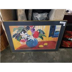 LARGE FRAMED PRINT FLOWERS AND FRUIT