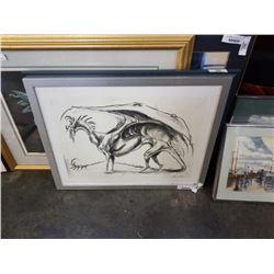 Signed charcoal framed art