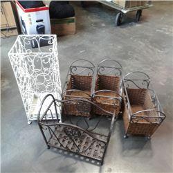 Three decorative metal and woven baskets magazine rack and bin