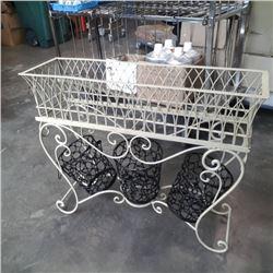 3 ft long decorative metal rectangular planter and 3 smaller planters