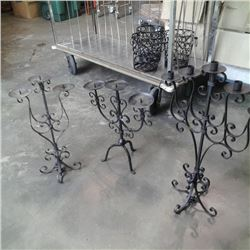 3 decorative metal candle stands