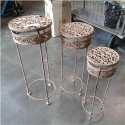 3 decorative cast iron stands
