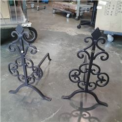 Pair of decorative metal fire dogs