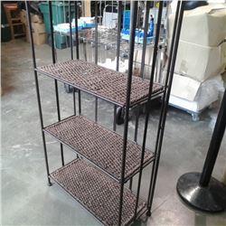 4 tier metal and woven folding shelf